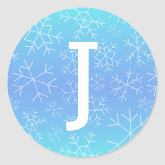 Blue Ombre Hand Drawn Snowflake Monogram Sticker