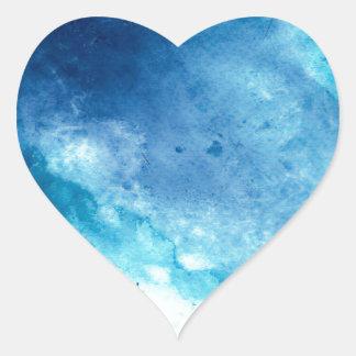 Blue Ombre Inkblot Splatter Watercolor Pattern Heart Sticker