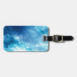 Blue Ombre Inkblot Splatter Watercolor Pattern Luggage Tag
