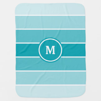 Blue Ombre Monogram Baby Blanket