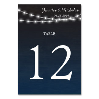 Blue Ombre n Lights Wedding Reception Table Number