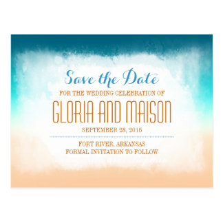 Blue ombre save the date postcards