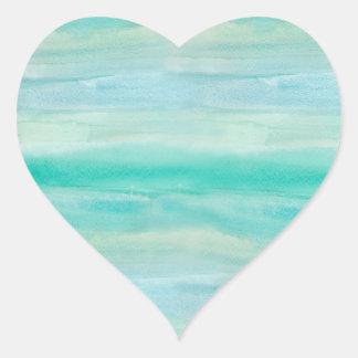 Blue Ombre Watercolor Wash Pattern Heart Sticker