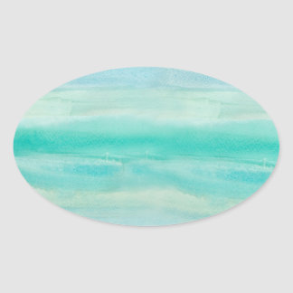 Blue Ombre Watercolor Wash Pattern Oval Sticker