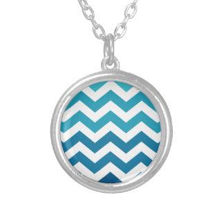 Blue Ombre Zigzags Round Pendant Necklace