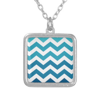 Blue Ombre Zigzags Square Pendant Necklace