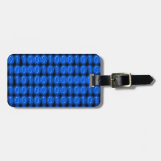 Blue on Black Binary Code Luggage Tag