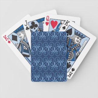 Blue on Blue Damask Pattern Bicycle Playing Cards
