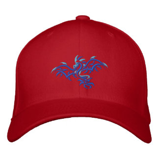 BLUE ON BLUE DRAGON EMBROIDERED BASEBALL CAP