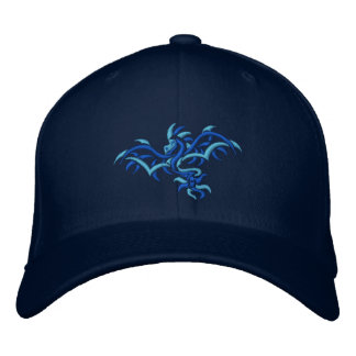BLUE ON BLUE DRAGON EMBROIDERED BASEBALL CAPS