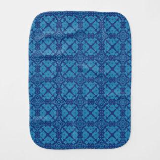 Blue on Blue Floral Geometric Patttern Burp Cloth