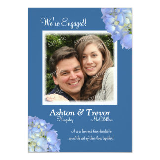 Blue on Blue Hydrangeas Photo Engagement Card 11 Cm X 16 Cm Invitation Card