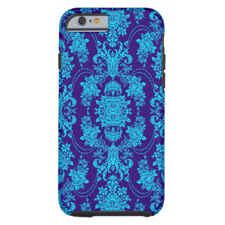 Blue On Blue Vintage Baroque Floral Pattern Tough iPhone 6 Case