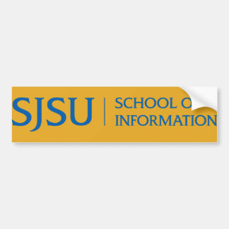 Blue on gold SJSU iSchool bumper sticker