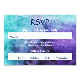 Blue on Purple Watercolor - RSVP Card