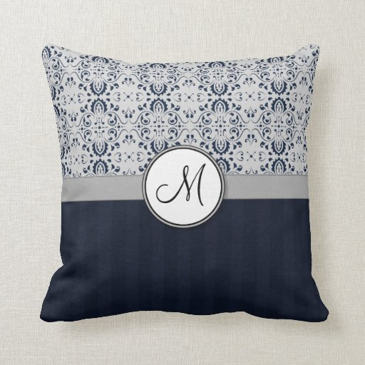 Blue on Silver Damask w Navy Stripes and Monogram Pillow