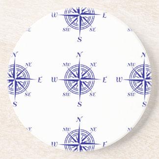 Blue On White Coastal Decor Compass Rose Pattern Drink Coaster