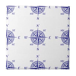 Blue On White Coastal Decor Compass Rose Pattern Small Square Tile