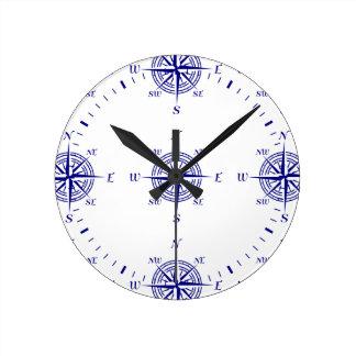Blue On White Coastal Decor Compass Rose Pattern Wallclock