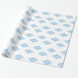 Blue on White Wallpaper Design Wrapping Paper