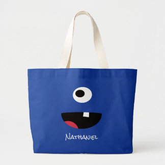 Blue One Eyed Monster Face Funny Kids Personalized Jumbo Tote Bag