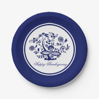 Blue Onion Pattern Your Greeting or Holiday Paper Plate