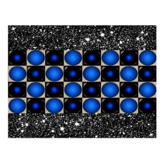 Blue Optical Illusion Designer Unusual Modern Art Postcard