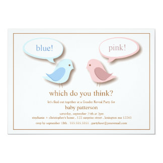 Blue or PInk Little Birds Gender Reveal Party Personalized Invite
