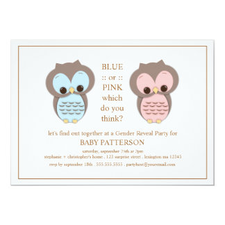 Blue or PInk Owl Baby Gender Reveal Party Card