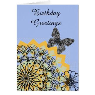 Blue Orange Abstract Sunflower Birthday Card