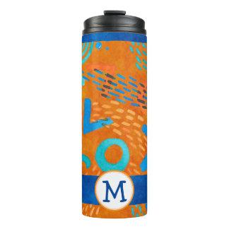 Blue, Orange and Aqua Funky Geometrics Orange Thermal Tumbler