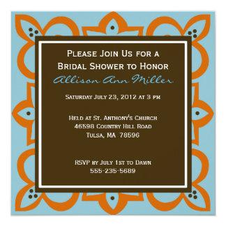 """Blue, Orange, and Brown Invitation 5.25"""" Square Invitation Card"""