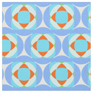 Blue, orange and green abstract geometric pattern fabric