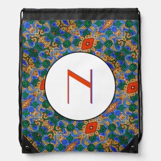 Blue Orange And White Pattern Monogrammed Drawstring Bag