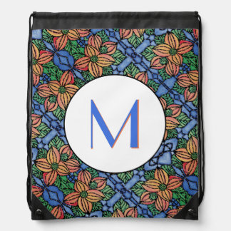 Blue Orange And White Pattern Monogrammed Drawstring Bag
