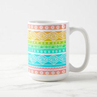 Blue Orange Aztec Stylish Modern Trendy Coffee Mug