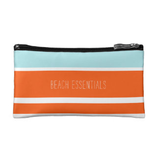 Blue & Orange Beach Essentials Pouch Cosmetic Bags