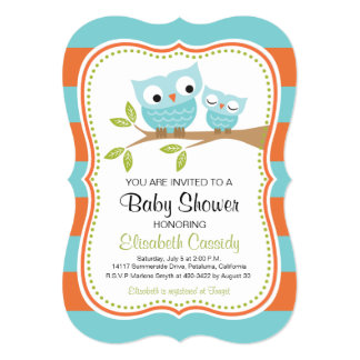 Blue & Orange, Bracket Owls Baby Shower Invite. Card
