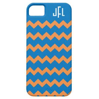 Blue & Orange Chevron Monogrammed iPhone5 case
