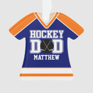 Blue/Orange Custom Hockey Dad Jersey Ornament