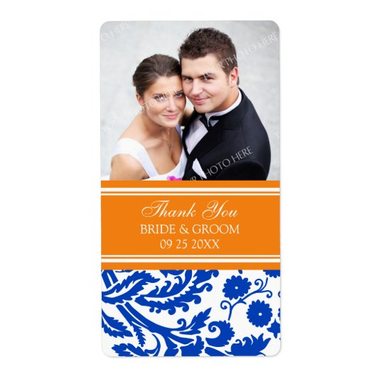 Blue Orange Damask Photo Wedding Labels