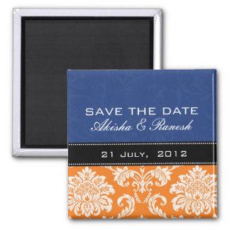 Blue Orange Damask Save the Date Magnet