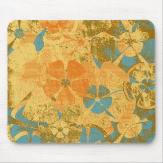 Blue Orange Floral Vintage Mouse Pad