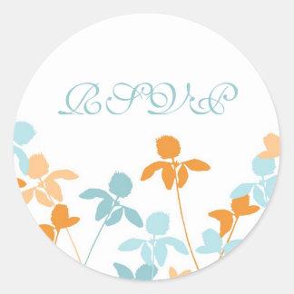 Blue Orange Floral Wedding RSVP Envelope Seals Round Sticker