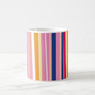 Blue Orange on Pink Stripes Coffee Mug