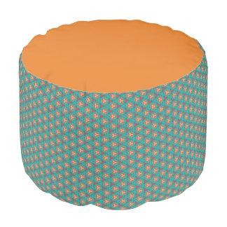 blue orange pattern pouf