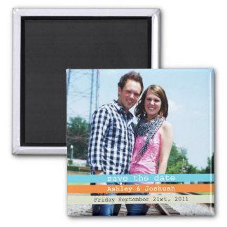 Blue & Orange Photo Save The Date Magnet