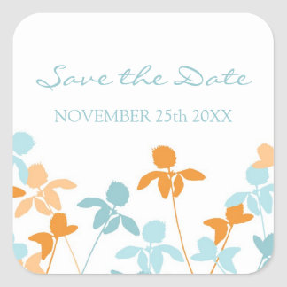 Blue Orange Save the Date Envelope Seal Stickers
