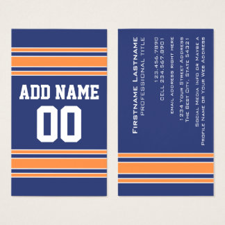 Blue Orange Sports Jersey with Name and Number