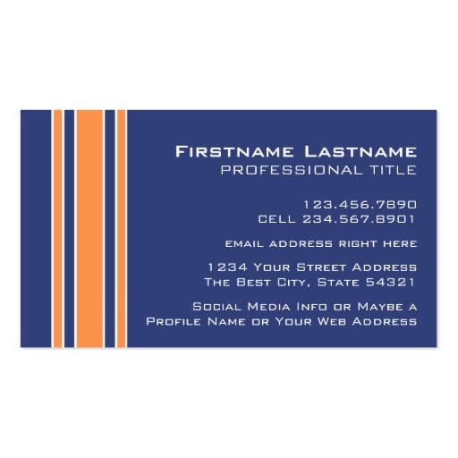 Blue Orange Sports Jersey with Name and Number Business Cards